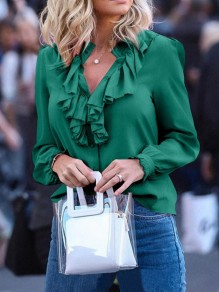 Green Cascading Ruffle Chiffon V-neck Work Women Fashion Blouses