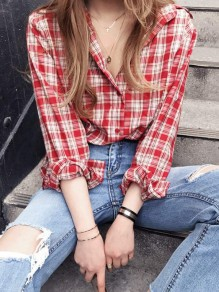 Red Plaid Print Single Breasted Turndown Collar Long Sleeve Blouse
