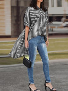Black White Striped Single Breasted Half Sleeve High-Low Fashion Blouse