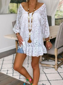 White Patchwork Lace Ruffle V-neck Backless Fashion Blouse