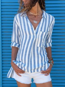 Blue White Striped Pockets Buttons V-neck Slit Fashion Blouse