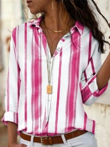 Pink White Striped Button Turndown Collar Long Sleeve Blouse
