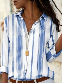 Blue White Striped Button Turndown Collar Long Sleeve Blouse