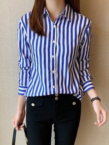 Blue White Striped Print Single Breasted Long Sleeve Fashion Blouse