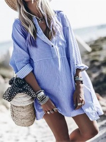 Blue White Striped V-neck Long Sleeve Oversize Long Blouse