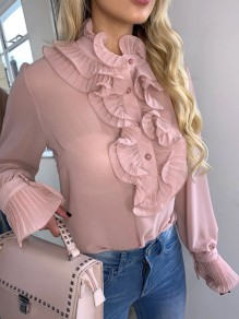 Pink Ruffle Single Breasted Long Sleeve Fashion Blouse