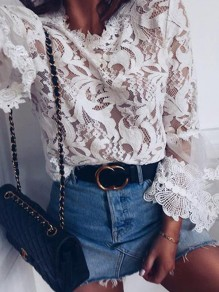 White Patchwork Lace Petal Neck Flare Sleeve Fashion Blouse