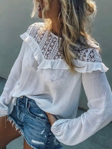 White Patchwork Lace Round Neck Long Sleeve Fashion Blouse