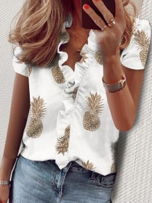 White Pineapple Print Ruffle V-neck Short Sleeve Fashion Blouse