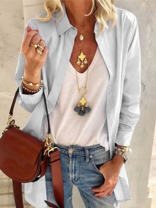 Grey Patchwork Buttons Turndown Collar Long Sleeve Fashion Blouse