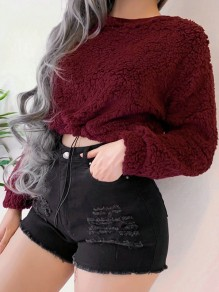 Burgundy Round Neck Long Sleeve Crop Fluffy Cute Thick Warm Blouse