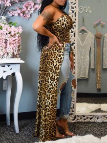 Brown Leopard Print Asymmetric Shoulder Long Sleeve High-low Homecoming Blouse