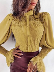 Yellow Lace Band Collar Flare Sleeve Long Sleeve Elegant Blouse