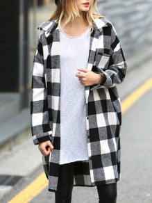 White Black Plaid Pattern Tailored Collar Long Sleeve oversize Blouse