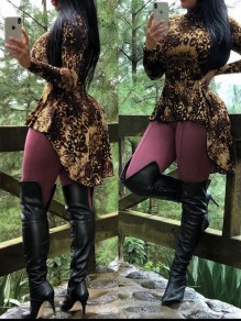 Brown Leopard Print Band Collar Long Sleeve High-low Casual Blouse