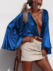 Blue Patchwork Sequin oversize Collarless Flare Sleeve Fashion Blouse