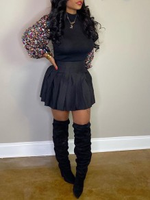 Black Patchwork Sequin Band Collar Long Puff Sleeve Cute Blouse