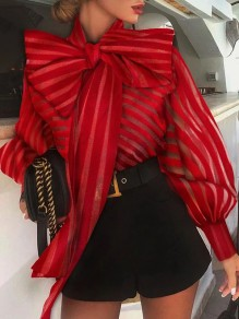 Red Striped Bow Collar Lace Up Lantern Sleeve Fashion Blouse