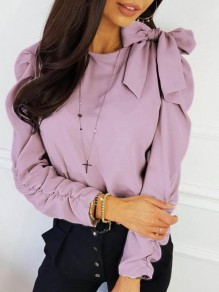 Pink Patchwork Belt Bow Round Neck Long Sleeve Fashion Blouse