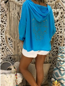 Blue Skull Pattern Bodycon Comfy Long Sleeve Going out Sweatshirt