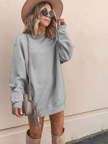 Light Grey Round Neck Long Sleeve Casual Sweatshirts