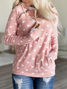 Pink Love Drawstring Long Sleeve Others Fashion Cardigan Sweatshirt