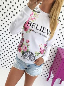 White Floral Pattern Bodycon Comfy Round Neck Going out Sweatshirt