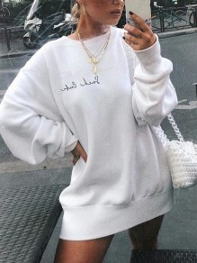 White Monogram Embroidery Round Neck Long Sleeve Oversize Sweatshirt