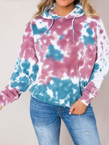 Pink Blue Floral Pockets Drawstring Hooded Long Sleeve Sweatshirt