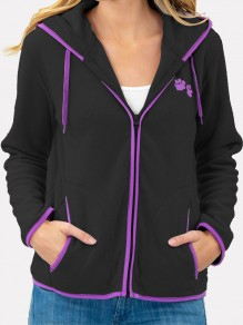 Black Patchwork Embroidery Zipper Pockets Hooded Long Sleeve Sweatshirt