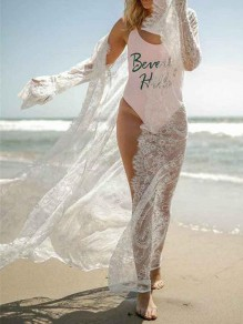 White Lace Long Sleeve Fashion Beach Smock Cardigan Kimono Cover Up