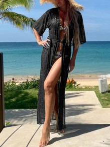Black Patchwork Belt Cover Up Bikini Smock Short Sleeve Fashion Outerwear