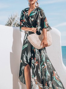 Green Floral Print Belt Cover Up Bikini Smock Short Sleeve Fashion Outerwear