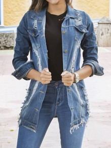 Light Blue Patchwork Ripped Destroyed Turndown Collar Long Sleeve Fashion Streetwear Denim Jacket