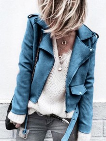 Blue Fashion Sweet Comfy V-neck Long Sleeve Blazer