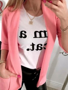Pink Fashion Sweet Comfy V-neck Long Sleeve Blazer