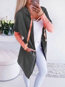 Grey-Pink Bandeau Fashion Sweet Comfy V-neck Long Sleeve Blazer