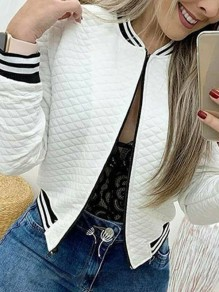 White Bandeau Fashion Sweet Comfy Round Neck Long Sleeve Blazer