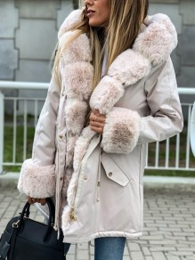 Beige Patchwork Faux Fur Pockets Hooded Long Sleeve Fatigue Parka Coat