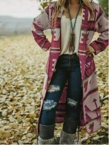 Purple Floral Geometric Aztec Print Fur Collar Long Sleeve Boho Country Casual Cardigan Coat