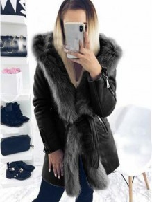 Black Patchwork Faux Fur Sashes Parka Hooded Cardigan Coat