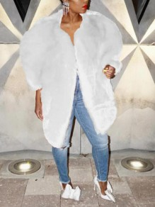 White Faux Fur 3/4 Sleeve Teddy Zipper Casual Parka Coat