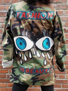 Army Green Camouflage Eye Sequin Single Breasted Turndown Collar Casual Coat
