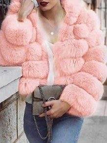 Blush Pink Fuzzy Faux Rabbit Fur Hooded Bubble Fur Coat Long Sleeve Casual Outerwear