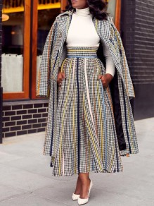 White-Black Plaid Pockets Pleated Two Piece With Skirt Elegant Outerwear