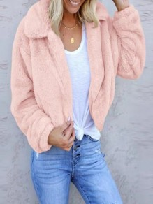 Pink Bubble Fuzzy Fatigue Fur Tedd Casual Coat Outerwear