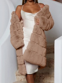 Brown Faux Fur Bubble Long Sleeve Fluffy Thick Fur Coat Teddy Long Outerwear