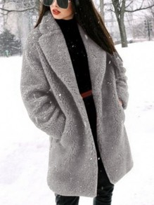 Grey Faux Fur Pockets Turndown Collar Long Sleeve Fashion Coat