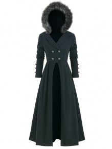Black Patchwork Skirted Peacoat Vintage Long Sleeve Hooded Fashion Outerwear