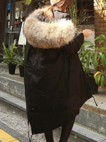 Black Drawstring Fur Long Sleeve Fashion Oversize Hooded Parka Coat